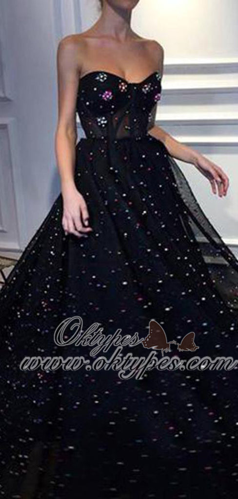 Black A-line Sweetheart Long Tulle Prom Dresses with Beaded, TYP1460