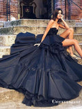 High Low Beading Sweetheart Black Evening Gowns Backless Prom Dresses, TYP1904