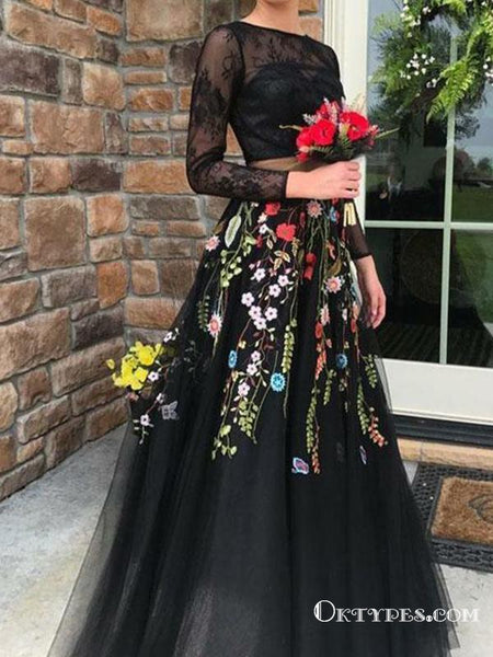 Two Piece Black Tulle Long Sleeves With Appliques Lace Prom Dresses, TYP1744
