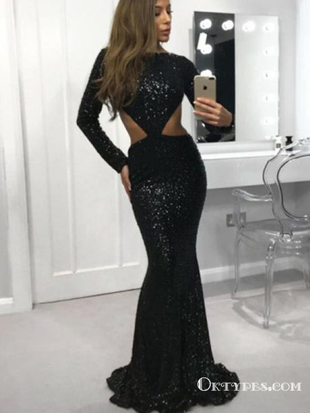 Mermaid Bateau Open Back Long Sleeves Black Sequin Long Prom Dresses, TYP1647