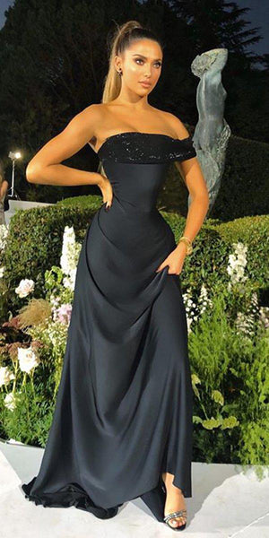New Arrival Straight A-line Black One Shoulder Long Cheap Prom Dresses, Evening Dresses, PDS0056