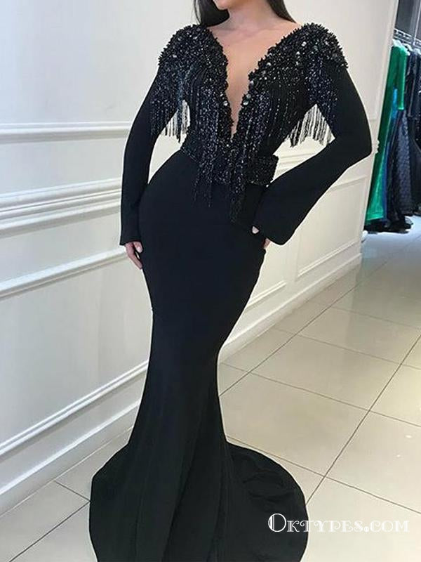 Black Long Sleeves Beading Long Mermaid Evening Gowns Backless Prom Dresses, TYP1695