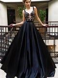 A-Line Long Cheap Navy Blue Satin Sleeveless Prom Dresses with Appliques, TYP1360
