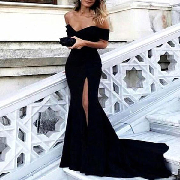 One Shoulder Mermaid Black Embroidery Pretty Long Prom Dresses, Cheap Prom Dresses, TYP0641