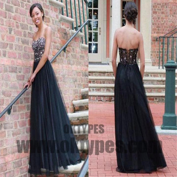 Long Top Beaded Tulle Prom Dresses, Backless Lace Up Prom Dresses, Prom Dresses, TYP0583