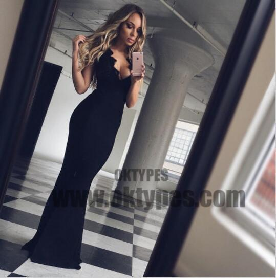 Black Sexy V-neck Lace Mermaid Prom Dresses, Cheap Long Prom Dresses, TYP0645