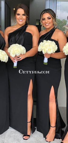 One Shoulder Black Mermaid Side Slit Long Cheap Bridesmaid Dresses, BDS0090