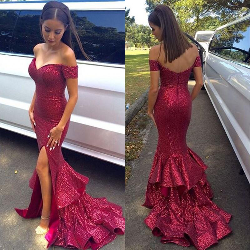 Long Red Mermaid Prom Dresses, Sequins Prom Dresses, Off-shoulder Prom Dresses, Split Side Prom Dresses, Zipper Prom Dresses, TYP0064