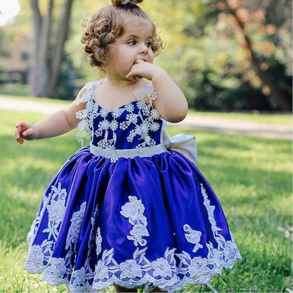 Ball Gown Spaghetti Straps Royal Blue Satin Flower Girl Dresses with Appliques, TYP1069