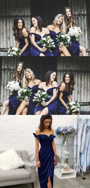 Sheath Off-the-Shoulder Short Dark Blue Bridesmaid Dresses, TYP1552