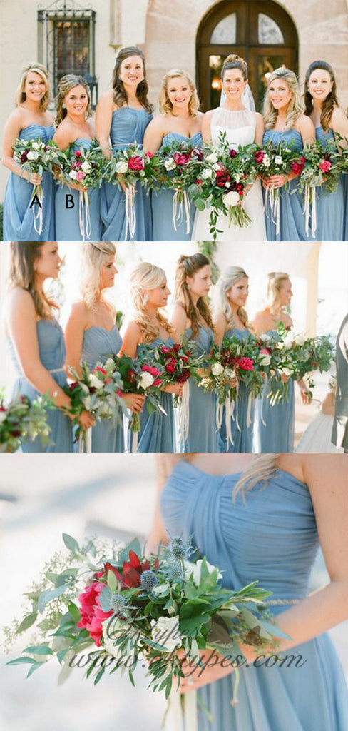Simple Sweetheart Long Cheap Blue Chiffon Bridesmaid Dresses, TPY1554