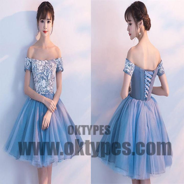 Cheap Blue Off Shoulder Lace Cute Homecoming Dresses, Homecoming Dresses, TYP0612