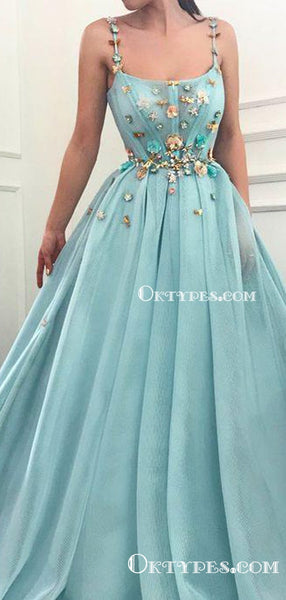 Newest Charming Elegant Spaghetti Strap Tulle A-line Long Cheap Prom Dresses With Appliqued, PDS0010