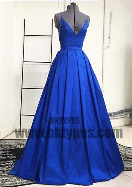 Blue Spaghetti Strap Backless Prom Dresses, Sexy And Charming Prom Dresses, TYP0674