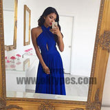 Blue Halter Chiffon Backless Prom Dresses, Charming and Lovely Prom Dresses, TYP0576