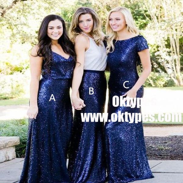 Mismatched Navy Blue Sequined Long Bridesmaid Dresses, TYP0913