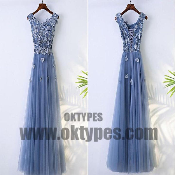 9b719b526971 Cute V-Neck Applique Lace Up A-Line Long Tulle Prom Dress, Beautiful ...