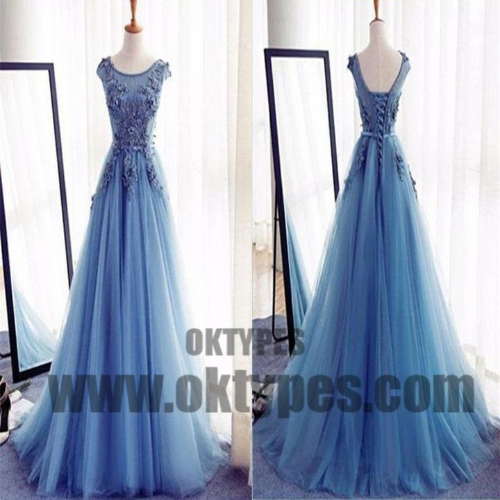 Charming Scoop Appliques Ball Gown Tulle Prom Dresses, Lace Up Prom ...