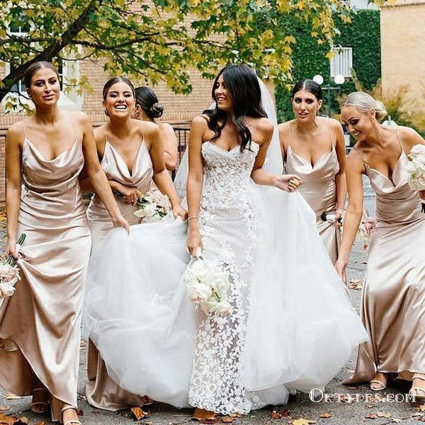 Spaghetti Straps Champagne Mermaid Bridesmaid Dresses with Criss Back, TYP1778