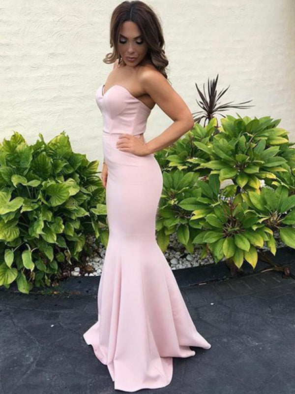 Mermaid Sweetheart Sleeveless Floor-Length Blush Pink Satin Prom Dresses, TYP1252
