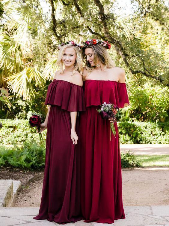 Off the Shoulder Burgundy Bridesmaid Dresses Cheap Long Bridesmaid Dresses, TYP1238