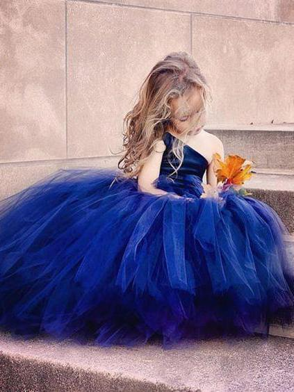 One Shoulder Cute Tulle Ball Gown Flower Girl Dresses, TYP1246