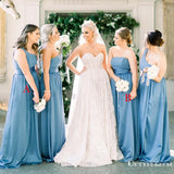 Mismatched Blue Charming Pretty Satin Chiffon Long Cheap A-line Wedding Pary Bridesmaid Dresses, TYP2073