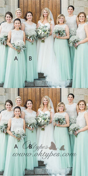 A-Line Round Neck Mint Green Bridesmaid Dress with Lace, TYP1407