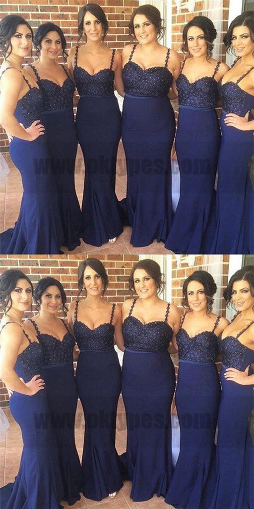 Dark Navy Spaghetti Strap Glittering Beads Trumpet Bridesmaid Dresses With Sweep Train, TYP0754