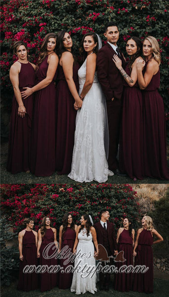 Affordable Chiffon Simple A-Line Sleeveless Long Bridesmaid Dresses, TYP1401