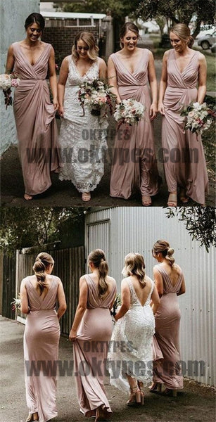 Pink Long V-neck And V-back Bridesmaid Dresses, Sexy Bridesmaid Dresses, TYP0593