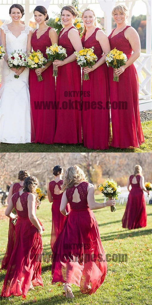 Long Red Lace Top V-Neck Long A-line Chiffon Bridesmaid Dresses, TYP0648