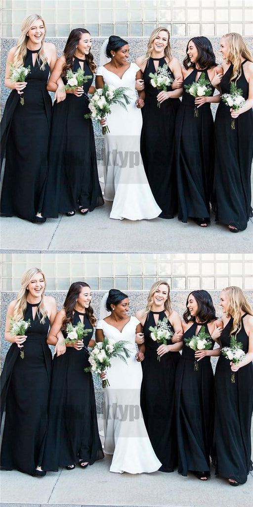 2018 Halter Custom Chiffon Long Black Bridesmaid Dresses, TYP0811