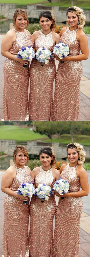 Gold Sequin Mermaid Halter Cheap Long Bridesmaid Dresses Online, TYP0456