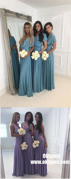 V-Neck Short Sleeve Long Blue Satin Cheap Bridesmaid Dresses Online, TYP0992