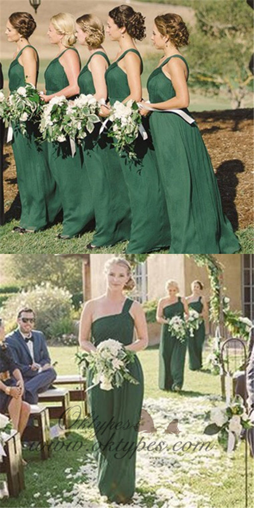 Green Casual One Shoulder Long Cheap Chiffon Bridesmaid Dresses, TYP1480