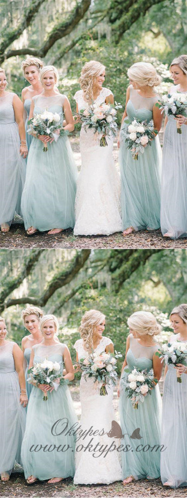 Long Tulle Mint Green Bridesmaid Dresses Modest Mother of Bride Dress Plus Size, TYP1207