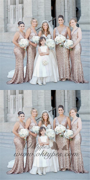 Sparkly Mermaid V-Neck Long Rose Gold Sequined Bridesmaid Dresses, TYP1476