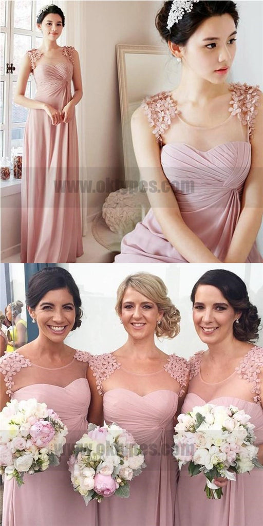 Pink Scoop Custom Made Chiffon Long Bridesmaid Dresses, TYP0812