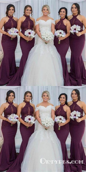 Halter Mermaid Grape Long Bridesmaid Dress with Appliques, TYP1756