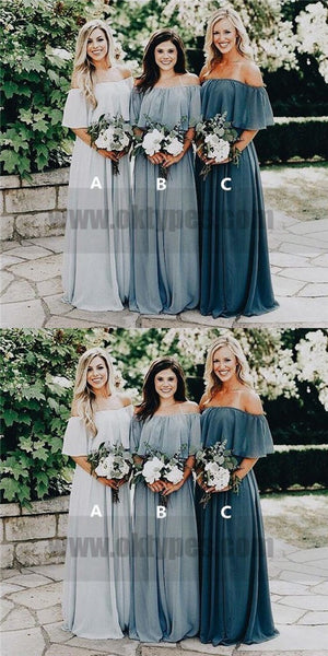 Cheap Off Shoulder Chiffon Custom Long Bridesmaid Dresses, TYP0771