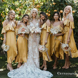 Newest Elegant Yellow V-neck Long Ankl-length Bridesmaid Dresses With Ruffles, TYP2044