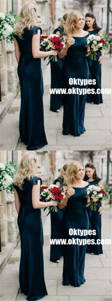 Cap Sleeve Mermaid Dark Teal Cheap Bridesmaid Dresses Online, TYP0895