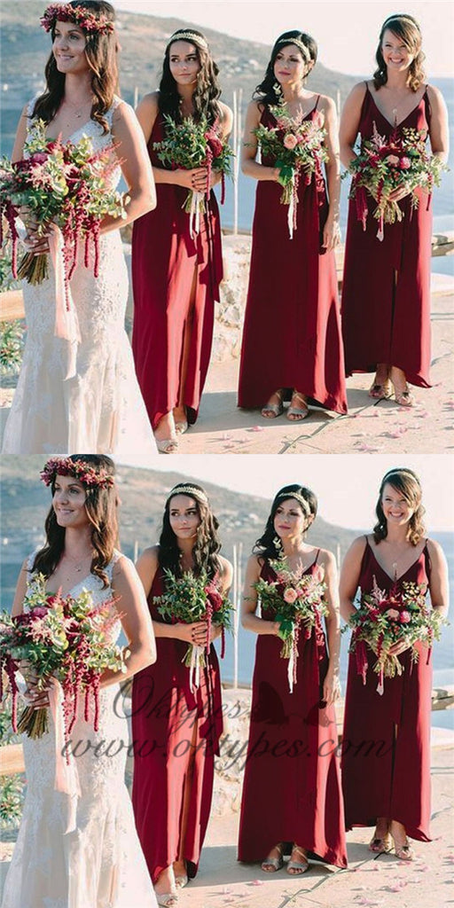 A-Line Spaghetti Straps Long Cheap Burgundy Bridesmaid Dresses with Split, TYP1365