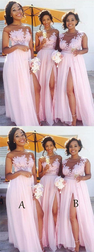 Sexy Side Slit Cap Sleeve Pink Custom Long Bridesmaid Dresses Online, TYP1133