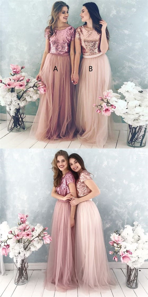 Shinny Top Blush Sequin Lovely Hot Sale Two Piece Tulle Round Neck Long Modest Cheap Bridesmaid Dresses, TYP1134