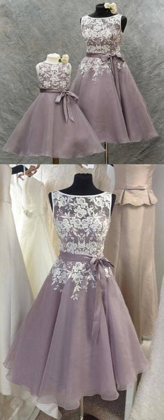 Lilac Chiffon Short Scoop Cheap Bridesmaid Dresses With Lace Appliques, TYP1100