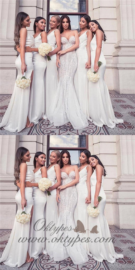 Mermaid V-neck Long Cheap White Bridesmaid Dresses with Split, TYP1362