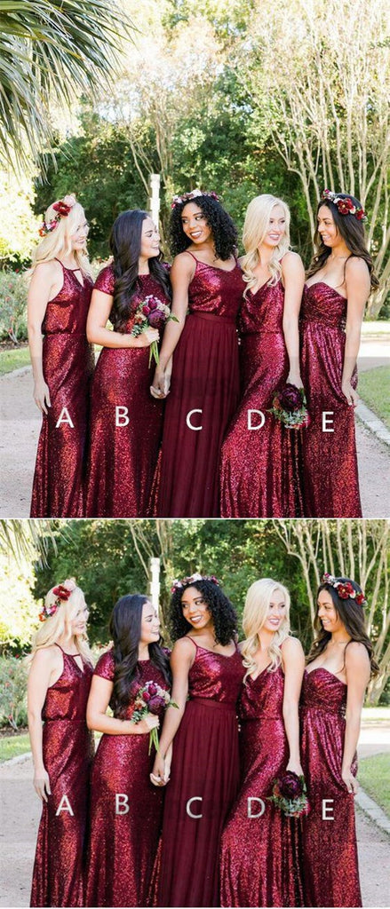 Mismatched Dark Red Sequin Custom Long Bridesmaid Dresses, TYP0813