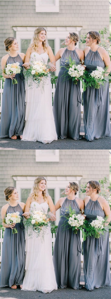 A-Line Crew Long Floor-Length Grey Chiffon Cheap Sleeveless Bridesmaid Dresses Online, TYP1014